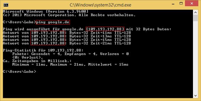 Windows Kommandozeile Ping